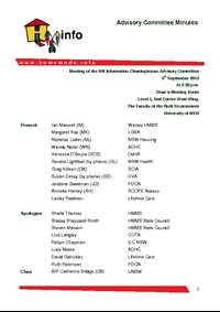 Thumbnail of 'Advisory Committee Meeting Minutes - September 2012' document