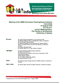 Advisory Committee Meeting Minutes - August 2005