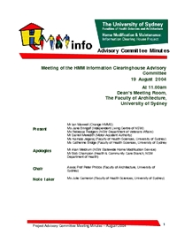 Advisory Committee Meeting Minutes - August 2004