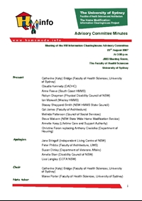 Advisory Committee Meeting Minutes - August 2007
