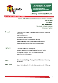 Advisory Committee Meeting Minutes - May 2008