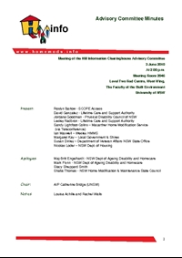 Advisory Committee Meeting Minutes - June 2010