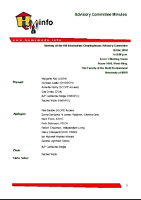 Advisory Committee Meeting Minutes - December 2010