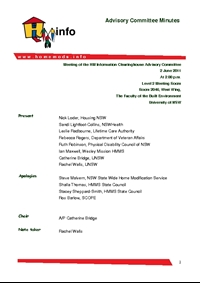 Advisory Committee Meeting Minutes - June 2011