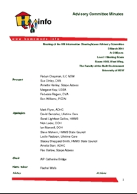 Advisory Committee Meeting Minutes - March 2011