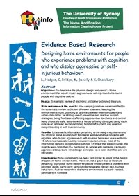 Designing home environments for people who experience problems with cognition and who display aggressive or self-injurious behav