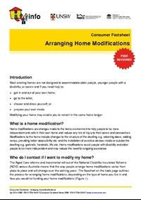 Thumbnail of 'Consumer Factsheet: Arranging Home Modifications' document