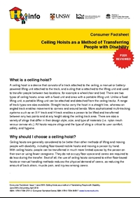 Thumbnail of 'Consumer Factsheet: The Effectiveness of Ceiling Hoists in Transferring People with Disability' document