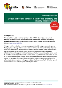 Industry Checklist: Colour and colour contrast in the homes of elderly and visually impaired people