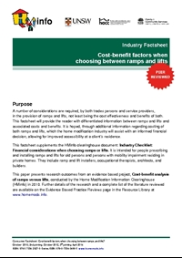 Industry Factsheet: Cost-benefit factors when shoosing between ramps and lifts