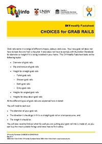 Thumbnail of 'DIYmodify Factsheet: CHOICES for GRAB RAILS' document