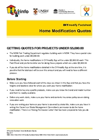 Thumbnail of 'DIYmodify Factsheet: Home Modification Quotes' document