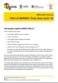 DIYmodify Factsheet: SKILLS NEEDED: Drop down grab rail