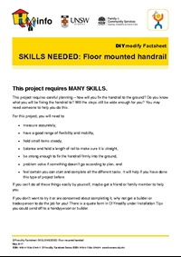 DIYmodify Factsheet: SKILLS NEEDED: Floor mounted handrail