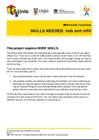 DIYmodify Factsheet: SKILLS NEEDED: Hob and infill