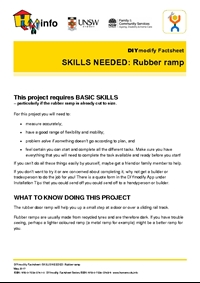 DIYmodify Factsheet: SKILLS NEEDED: Rubber ramp