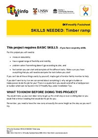 DIYmodify Factsheet: SKILLS NEEDED: Timber ramp