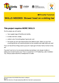 DIYmodify Factsheet: SKILLS NEEDED: Shower head on a sliding bar