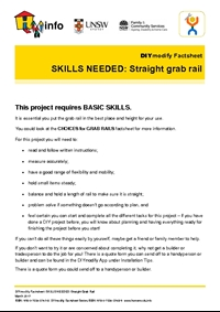 DIYmodify Factsheet: SKILLS NEEDED: Straight grab rail