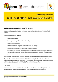 DIYmodify Factsheet: SKILLS NEEDED: Wall mounted handrail