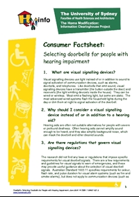 Thumbnail of 'Consumer Factsheet: Selecting Doorbells for People with Hearing Impairment' document
