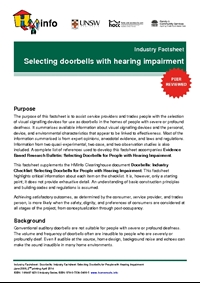 Industry Factsheet: Selecting Doorbells for People with Hearing Impairment