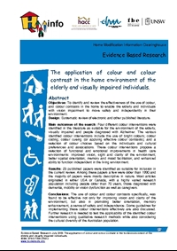 The application of colour and colour contrast in the home environment of the elderly and visually impaired individuals.
