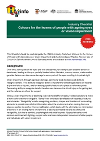 Industry Checklist: Colours for the homes of people with ageing eyes or vision impairment