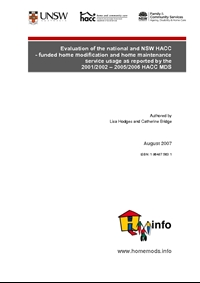 Evaluation of the national and NSW HACC-funded home modification and home maintenance service usage as reported by the 2001/2002