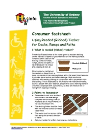 Reeded: Consumer Factsheet Reeded (Ribbed) Timber for Decks, Ramps and Paths