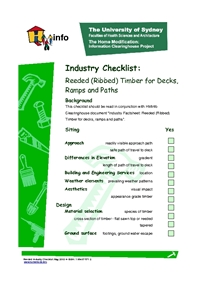 Reeded: Industry Checklist for Reeded (Ribbed) Timber for Decks, Ramps and Pathways