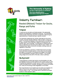 Reeded: Industry Factsheet Reeded (Ribbed) Timber for Decks, Ramps and Pathways