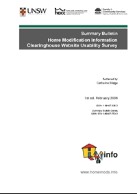 Summary Bulletin: Home Modification and Maintenance Information Clearinghouse Website Usability Survey