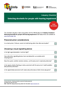 Industry Checklist: Selecting Doorbells for People with Hearing Impairment