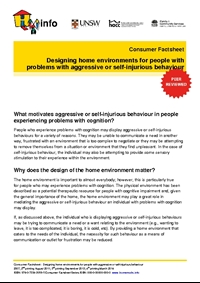 Thumbnail of 'Consumer Factsheet: Designing home environments for people with aggressive or self-injurious behaviour' document