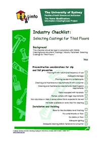 Coatings: Industry Checklist: Selecting Coatings for Tiled Floors
