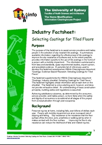 Coatings: Industry Factsheet: Selecting Coatings for Tiled Floors