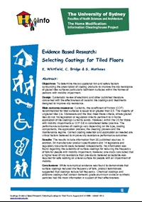Coatings: Evidence Based Research: Selecting Coatings for Tiled Floors