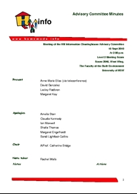 Advisory Committee Meeting Minutes - September 2010